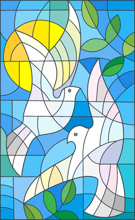 Ilustración de Illustration in stained glass style with abstract pigeons, the sun and branches - Imagen libre de derechos
