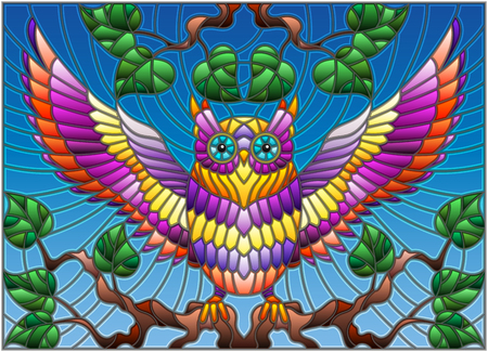 Illustration for Illustration in stained glass style with fabulous colourful owl sitting on a tree branch against the sky - Royalty Free Image