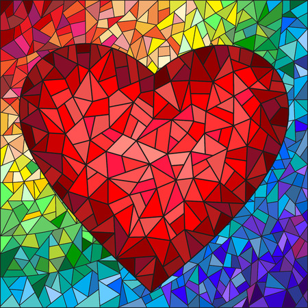 Ilustración de Illustration in stained glass style with red heart on the rainbow in the background - Imagen libre de derechos