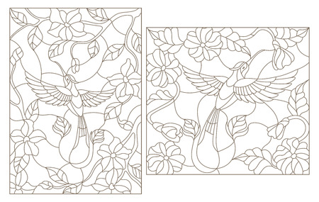 Ilustración de The illustrations in the stained glass style Hummingbird on a background of flowers and leaves - Imagen libre de derechos