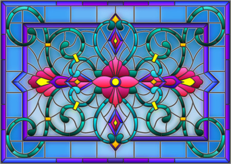 Illustration pour llustration in stained glass style with abstract  swirls,flowers and leaves  on a light background,horizontal orientation - image libre de droit