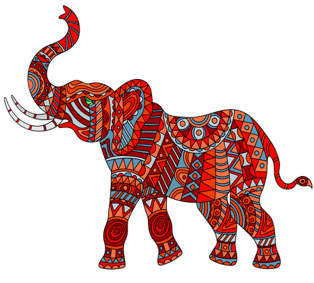 Illustration for Illustration of abstract red elephant on white background, isolate - Royalty Free Image