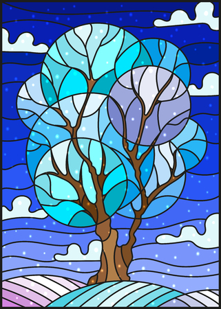 Illustration pour Illustration in stained glass style with winter tree on sky background with the snow - image libre de droit