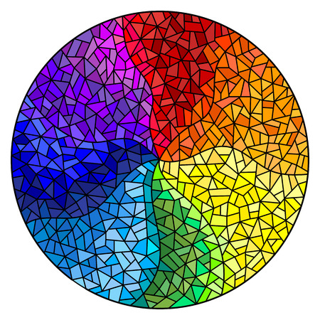 Illustration pour Abstract stained glass background , the colored elements arranged in rainbow spectrum,round image - image libre de droit