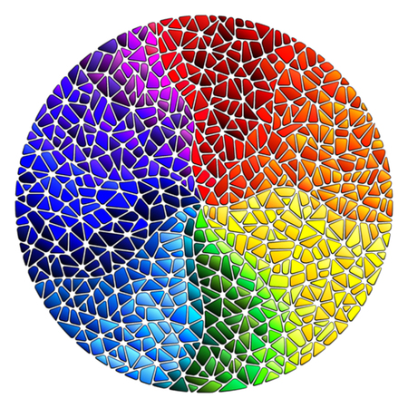 Illustration pour Abstract stained glass background. The colored elements arranged in rainbow spectrum, round image. - image libre de droit