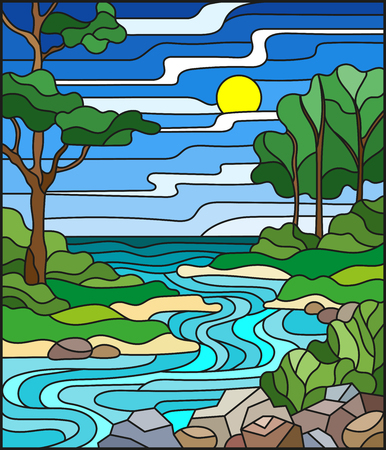 Illustration for Illustration in stained glass style landscape, meandering river on the background of the green banks of trees on a background sky and sun. - Royalty Free Image