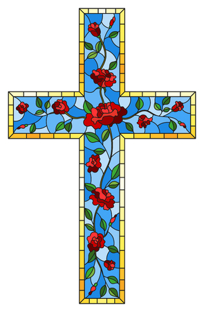 Illustration pour The illustration in stained glass style painting on religious themes, stained glass window in the shape of a Christian cross decorated with red roses isolated on white background - image libre de droit