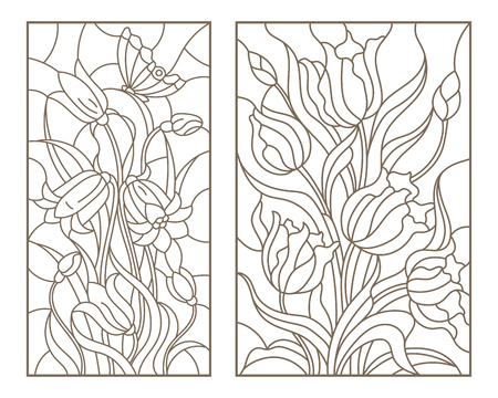 Illustration for Set of contour stained glass illustrations with bouquets of flowers, tulips and flowers bells, dark outlines on white background - Royalty Free Image