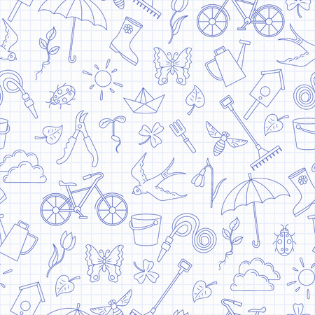 Illustrazione per Seamless pattern with simple contour icons on the theme of spring ,blue  contour  icons on the clean writing-book sheet in a cage - Immagini Royalty Free
