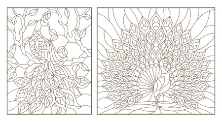 Ilustración de Set of outline illustrations stained glass Windows with peacocks, dark outlines on white background - Imagen libre de derechos
