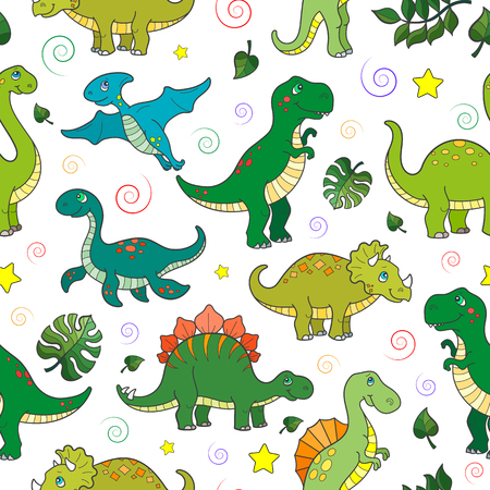 Ilustración de Seamless pattern with colorful dinosaurs and leaves, animals on white background - Imagen libre de derechos