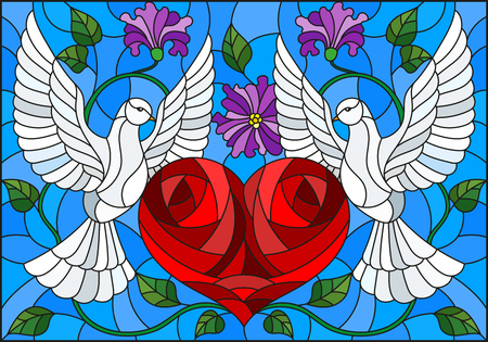 Illustration pour Illustration in stained glass style with a pair of pigeons and a heart against the sky and flowers - image libre de droit