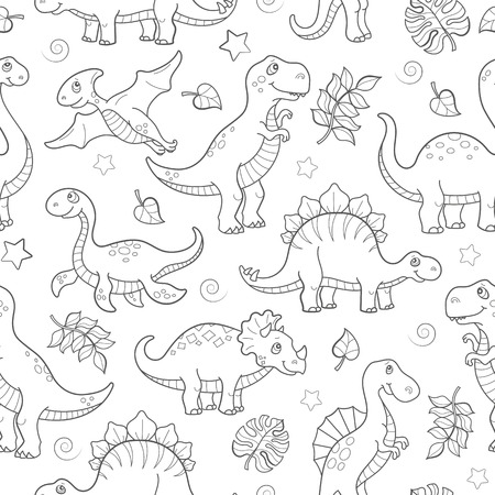 Ilustración de Seamless pattern with dinosaurs and leaves, contoured animals on white background - Imagen libre de derechos