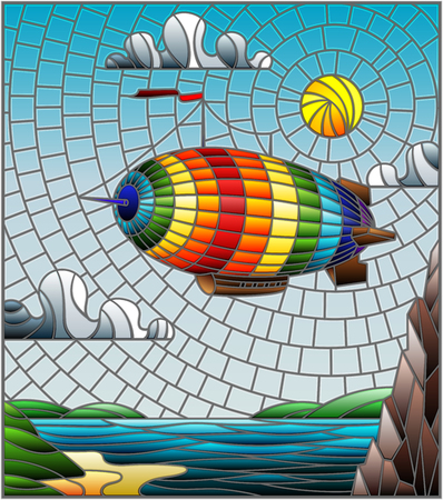 Illustration pour Illustration in stained glass style with a rainbow airship flying over a plain with a lake on a background of mountains, cloudy sky and sun - image libre de droit
