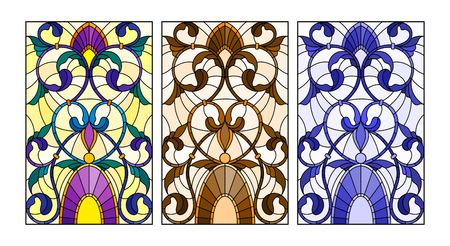 Ilustración de Set of illustrations of stained glass with abstract swirls and flowers - Imagen libre de derechos