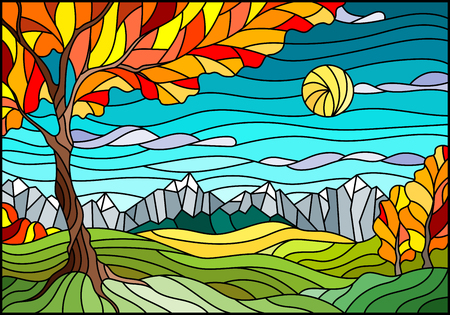 Illustration pour Illustration in stained glass style with autumn landscape,  tree on mountain landscape and Sunny sky background - image libre de droit