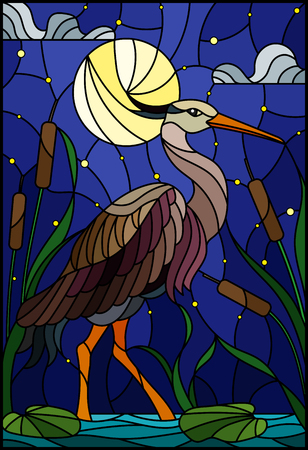 Ilustración de Illustration in stained glass style with brown  heron ,  reeds on a pond in the moon, starry sky and clouds - Imagen libre de derechos