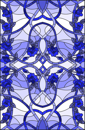 Illustration pour Illustration in stained glass style with abstract  swirls,flowers and leaves  on a light background,vertical orientation gamma blue - image libre de droit