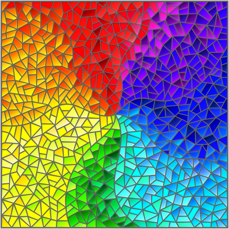 Illustration pour Abstract stained glass background , the colored elements arranged in rainbow spectrum - image libre de droit