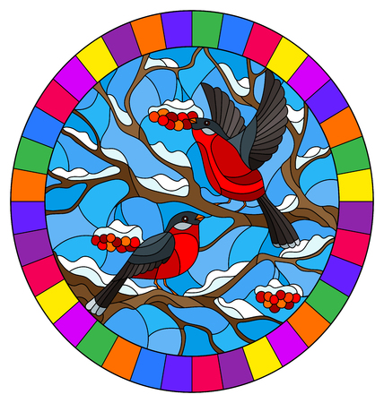 Illustration pour Illustration in stained glass style with a pair of bullfinches, on the background of snow-covered mountain ash tree,oval image in bright frame - image libre de droit