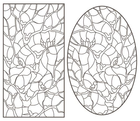 Illustration pour A set of contour illustrations of stained glass Windows with birds on tree branches, dark outlines on a white background - image libre de droit