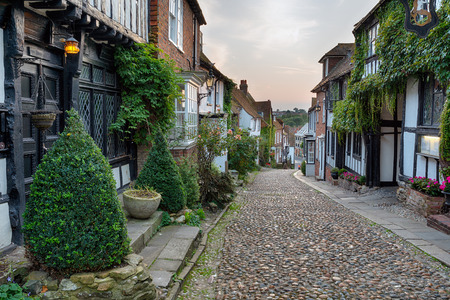 Beautiful half timbered houses on a cobbled street at Rye in east Sussex