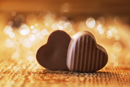 Photo for chocolates hearts on  wooden background, valentines day - Royalty Free Image