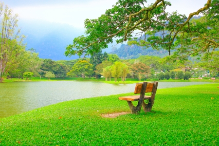 Panoramic view of public lake garden at Taiping, Perak, Malaysia