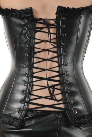 Back of the woman in black leather corset. Isolated on white background