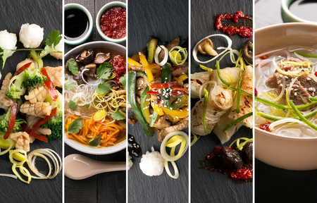 Photo pour Traditional chinese food. Photo collage with chinese cuisine - image libre de droit