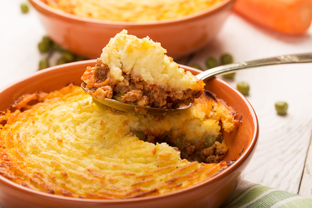Photo for Shepherd's pie with potato, meat and vegetables - Royalty Free Image