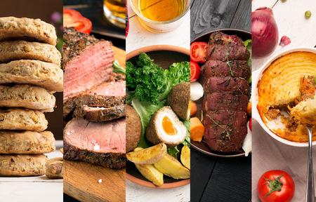 Foto de Traditional English food. Photo collage with English cuisine. - Imagen libre de derechos
