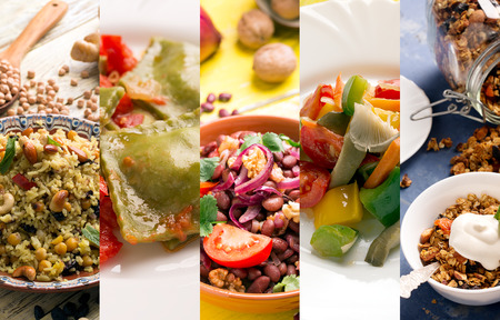 Photo pour Natural food. Photo collage with vegetarian food - image libre de droit
