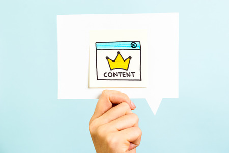 Photo for Content is the king message on blue background - Royalty Free Image