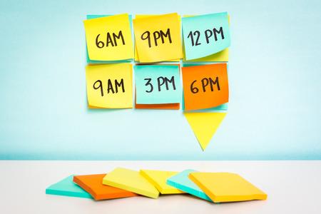 Photo pour Time to schedule board on blue background. Business concept - image libre de droit
