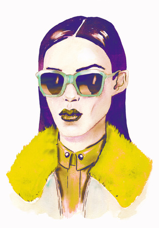 Foto de hipster girl with glasses.  Hand painted fashion illustration . fall trends. fashion trends. - Imagen libre de derechos