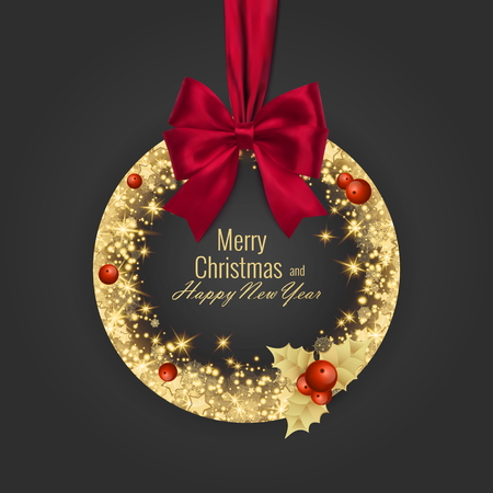 Illustration for Merry Christmas and Happy New Year 2018 greeting card, vector illustration - Royalty Free Image