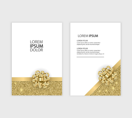 Illustrazione per Set of Gift Voucher Card Template, Advertising or Sale. template with glitter texture and realistic bow illustration - Immagini Royalty Free