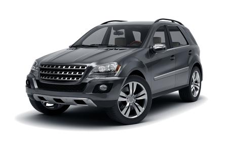 Photo pour Black SUV isolated on white background. - image libre de droit