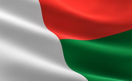 Foto de Flag of Madagascar. Illustration of the Madagascar flag waving. - Imagen libre de derechos
