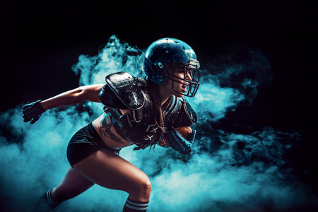 Photo pour Sexual sportive woman running with rugby ball and screaming aggressively in smoke. - image libre de droit