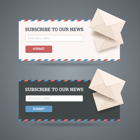 Photo pour Subscribe to newsletter form for web and mobile applications in two flat styles with envelopes  - image libre de droit