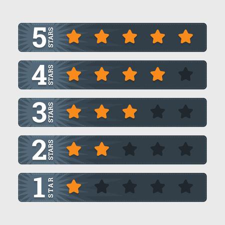 Ilustración de Star rating banners in flat style  - Imagen libre de derechos