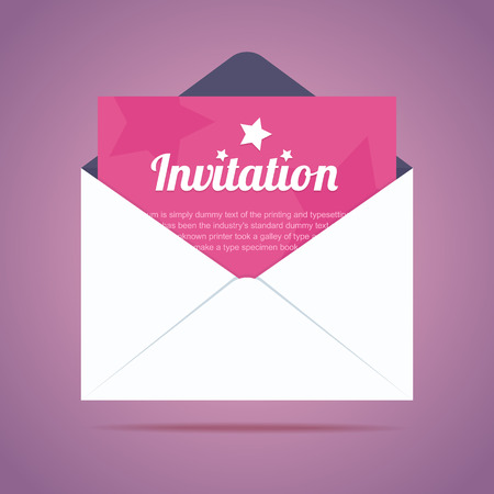 Illustration for Envelope with invitation card and star shapes. Vector illustration - Royalty Free Image