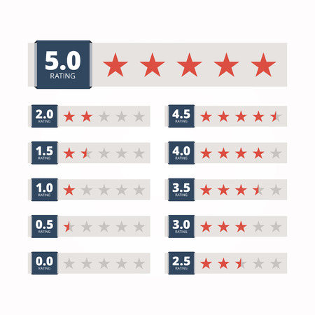 Ilustración de Star rating badges. Star rating banners. Star rating emblems from zero to five stars. Rating banners for hotel service. Isolated on white background. Vector illustration. - Imagen libre de derechos