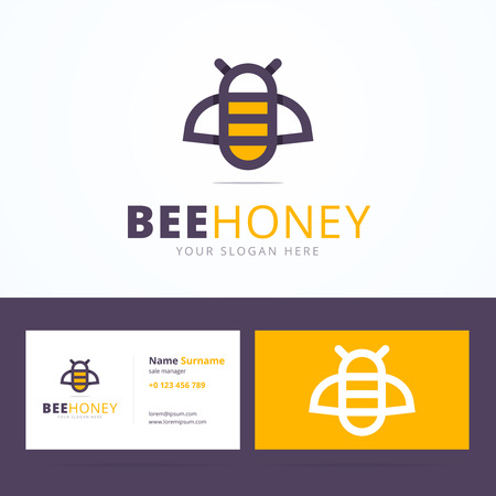 Bee honey logo and business card template. Linear bee sign with overlapping effect. Vector illustration in flat, line style for print or mobile.
