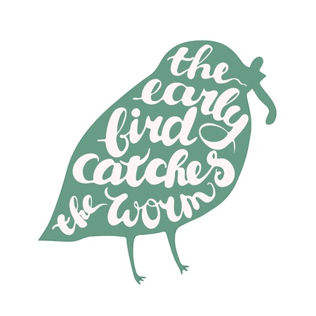 Illustration pour Letterig composition with bird. Proverb is the early bird catches the worm. Isolated illustration on white background. - image libre de droit