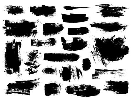 Ilustración de Set of black vector brush strokes on white background. Painted grunge stripes, spots and blobs - Imagen libre de derechos
