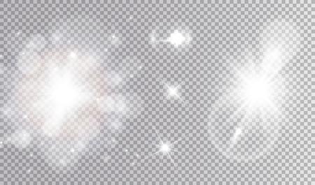 Ilustración de White lights cosmic design set. Soft sparkling bokeh cloud, different stars, big soft outburst with lens flare effect. - Imagen libre de derechos