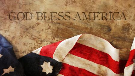 Foto de God Bless America. Flag and Wood - Imagen libre de derechos